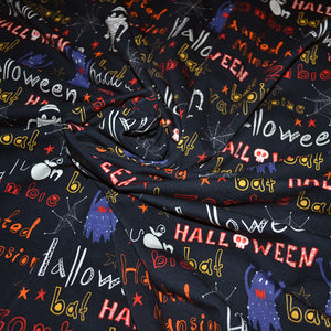 Cotton French Terry Fabric With Halloween cartoon bright seamless Background 27205411