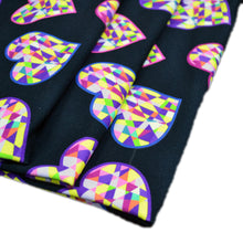 Load image into Gallery viewer, Cotton French Terry Fabric With abstract geometric hearts on black background 14789496