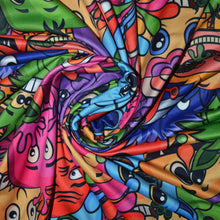 Load image into Gallery viewer, Polyester Double Brushed Fabric With Seamless Background for your Design with Different Cartoon Monsters Colorful Tile Pattern with Cute Funny Characters 62193560