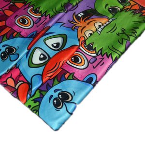 Polyester Double Brushed Fabric With Seamless Background for your Design with Different Cartoon Monsters Colorful Tile Pattern with Cute Funny Characters 62193560