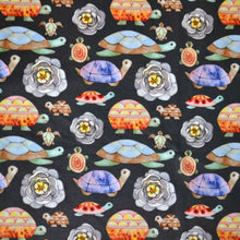 Load image into Gallery viewer, Polyester Double Brushed Fabric With Watercolor stylised turtles seamless pattern texture. Kids cartoon style 72980768
