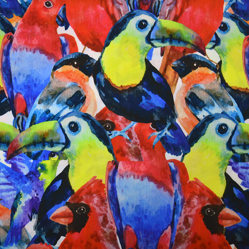 Cotton Satin Fabric With Tropical birds colorful composition seamless pattern for screen printing with parrots and toucan heads abstract 42462314