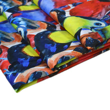 Load image into Gallery viewer, Cotton Satin Fabric With Tropical birds colorful composition seamless pattern for screen printing with parrots and toucan heads abstract 42462314