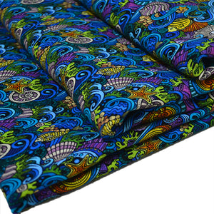 Cotton French Terry Fabric With Cartoon hand-drawn doodles on the subject of under water life theme seamless pattern 53265355