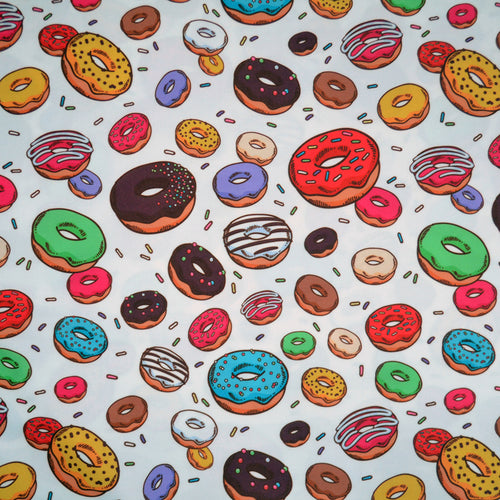 Swim Wear Fabric Polyester Lycra With Colorful donuts with sprinkles seamless pattern. Doodle sketch style background 42772779