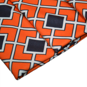 Polyester Double Brushed Fabric With Seamless pattern in Halloween traditional colors. Diagonal square chain abstract 62981541