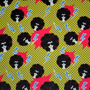 Polyester Double Brushed Fabric With Retro 80s disco party seamless pattern vector. Yellow polka dot pop art background with lightning, girl with black curly 80s hairstyle 51641665