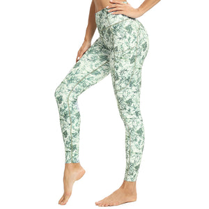 Custom Female Pocket Waistband Print Trouser Sport Wear Leggings