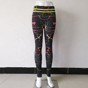 New Style Hot Sale High Waist Sport Fitness Fresh Women Yoga Pants Marble Printed Leggings