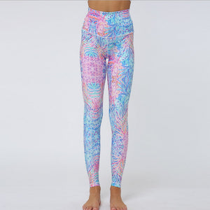 Private Label Ladies Gym Stylish Botanical Digital Printing Stitching Leggings Women High Waist Yoga Pants Fitness Clothes