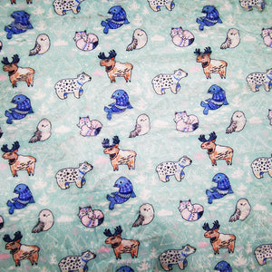 Minky DEC01 Fabric With Bears Foxes Animals