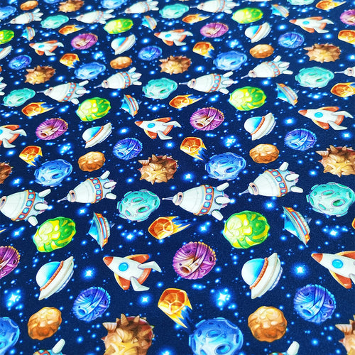 PUL Fabric Comic space with planets and spaceships Rocket cartoon star and science design 47419175