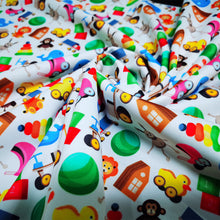 Load image into Gallery viewer, PUL Fabric Seamless pattern with colorful children's toys on white background 92115574