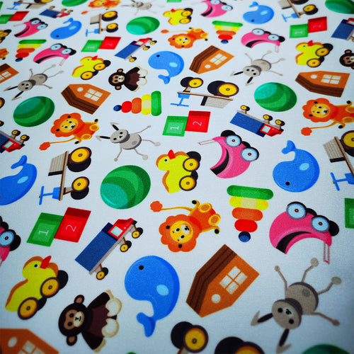 PUL Fabric Seamless pattern with colorful children's toys on white background 92115574