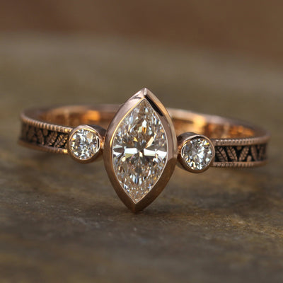 Diamond Rose Gold Hand Made Vintage Engagement Ring - Marquise Ring - Leaf
