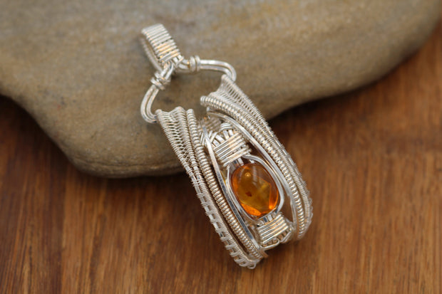 Amber Wire Wrapped Sterling Silver Pendant - Baltic Sea Amber - Wire Wrapped Pendant- Wire Wrapped Necklace