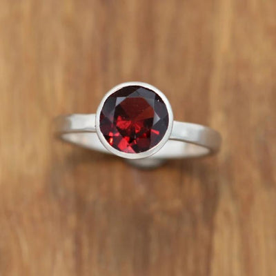 Garnet Evening Bezel Ring - Garnet Round Ring - Honker - January Birthstone Ring - in Choice of Sterling Silver or Karat Gold