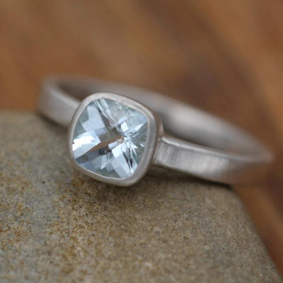 Aquamarine Ring - Solitaire Bezel Aquamarine Ring -Cushion Cut Ring - Alternative Engagement Ring - Recycled - March Birthstone Ring