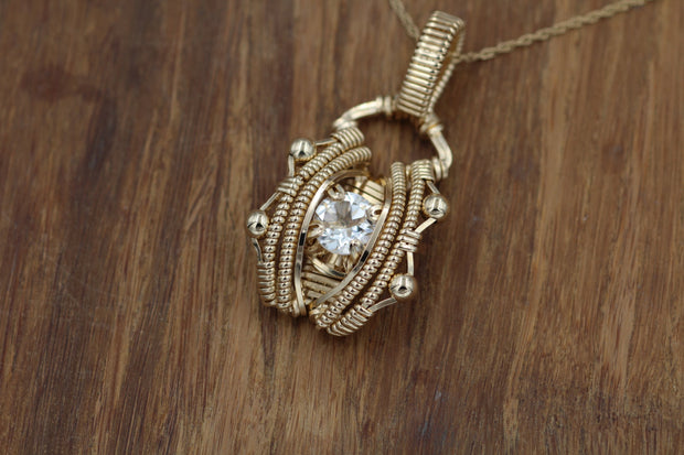 Wire Wrapped Pendant - White Topaz  White Topaz Gold Necklace - Topaz Wire Wrapped Pendant - Gold Wire Wrapped Pendant