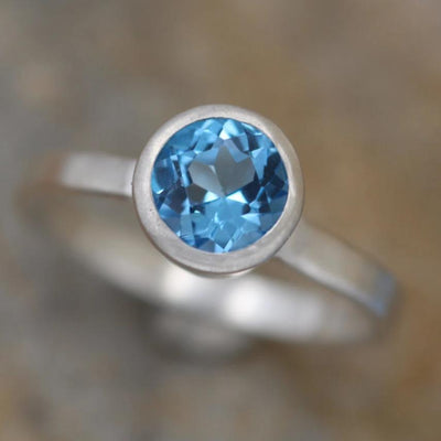Swiss Blue Topaz Bezel Ring - Matte Finish Solitaire Ring - Round Topaz Ring - Alternative Ring - Recycled - Engravable Ring - December