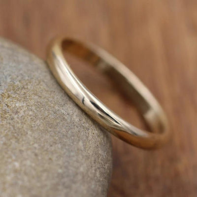 Yellow Gold Band, Glossy Finish - Simple Gold Band - Smooth Band - Engravable Band - Half Round Gold Band - Hand Made in 14 kt Yellow Gold