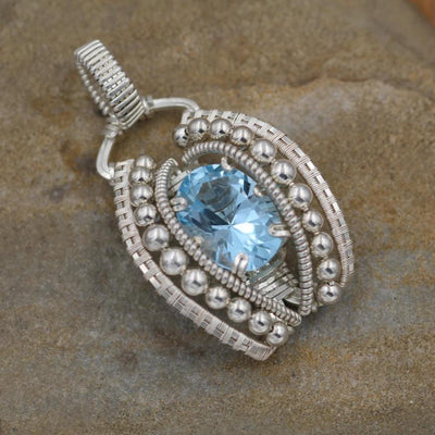 Blue Topaz Wire Wrapped Pendant in -  Heady Topaz Pendant- Blue Topaz Necklace - Heady Wire Wrap