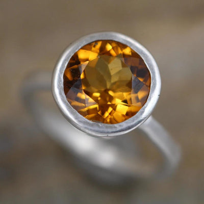 Citrine Bezel Ring - Matte Finish Solitaire Citrine Ring - Round Citrine Ring - Rock Fettish Ring - Alternative Engagement Ring