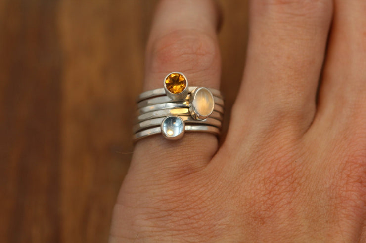 Moonstone, Blue Topaz and Citrine Stacking Ring Set in Sterling Silver - Multi Gem Ring Set