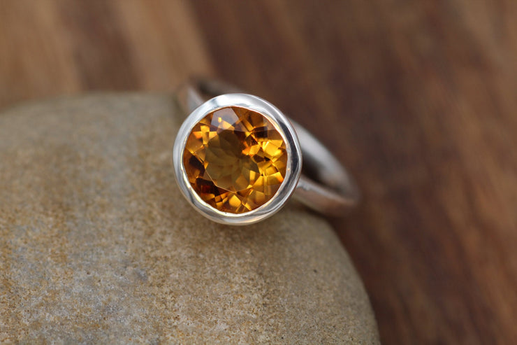 Citrine Ring - Glossy Finish Solitaire Citrine Ring - Bezel Engagement Ring - Rock Fettish Ring - Alternative Engagement Ring