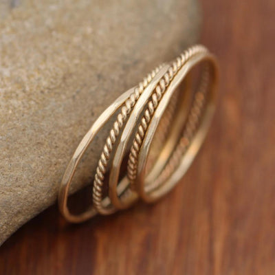 14 Kt Yellow Gold 1.4mm Matte Twist Wire Ring Set- Stacking Rings - Midi Rings - Skinny Rings - Twist Ring Set - Hammered Ring Set