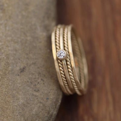 Petite Diamond Gold Stacking Ring Set Matte Finish - Choice of Size Diamond Stacking Ring Set - VS Diamond Ring - Diamond Ring
