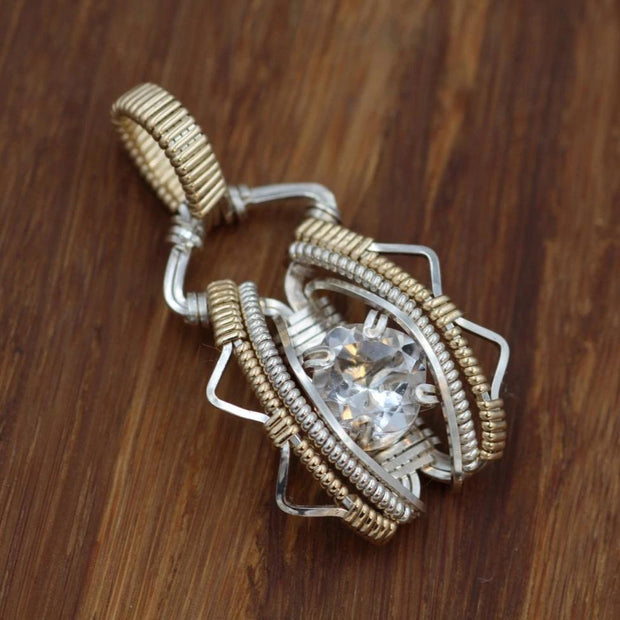 Quartz Wire Wrapped Pendant - Cushion Cut Quartz Pendant - Quartz Necklace - Wire Wrapped Necklace - Silver Wire Wrap
