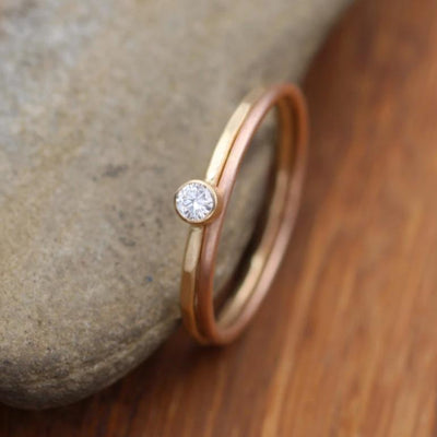 Diamond Yellow & Rose Gold Ring Set - 3mm Matte Finish , 0.11 ct - Gold Engagement Ring - Diamond Gold Stacking Ring - VS Ring