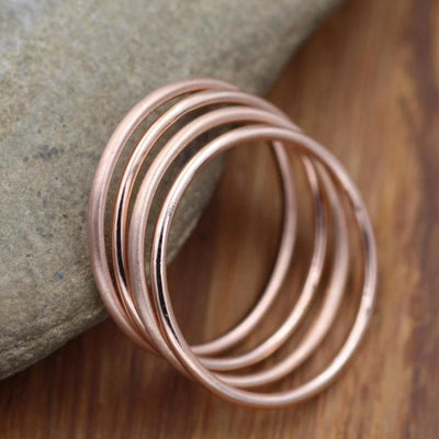 14K Rose Gold Mixed Finish 1.4mm Ring Set - Matte & Glossy Ring Set - Pink Gold Ring Set - Solid Rose Gold Rings - Rose Gold Band