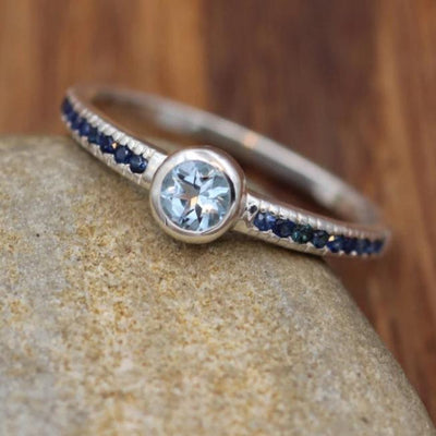 Aquamarine and Sapphire Engagement Ring - Alternative Engagement Ring - Bezel Ring - Conflict Free Engagement Ring - Recycled