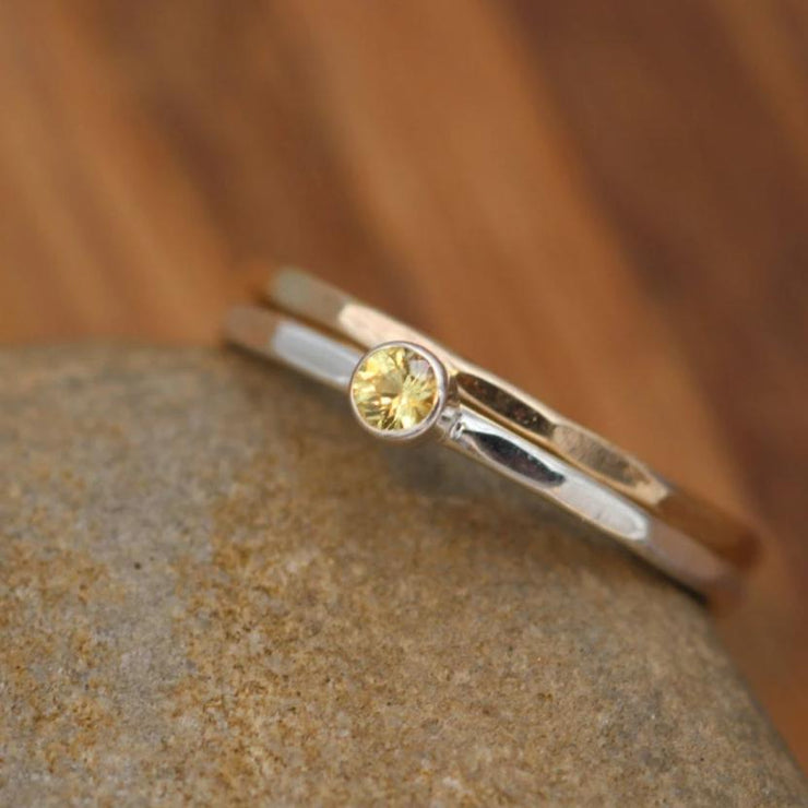 Yellow Sapphire 3mm Glossy Stacking Ring Set - Yellow Sapphire Ring - Sapphire Ring Set - Sapphire Stacking Ring Set