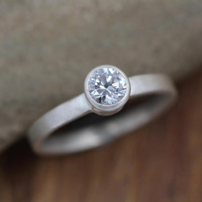 Moissanite Alternative Engagement 4mm Bezel Ring - Matte Finish - Silver or Gold - Traditional Style Ring - Solitaire Ring