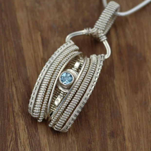Wire Wrapped Pendant - Blue Topaz Pendant - Blue Topaz Necklace - Silver Blue Topaz Pendant - Wire Wrapped Blue Topaz Pendant