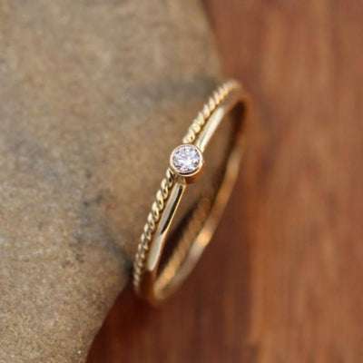 VS Diamond Yellow Gold Glossy Stacking Ring Set - Petite Diamond Ring - Twist Wire Diamond Ring - Diamond Ring Set - VS Diamond Ring