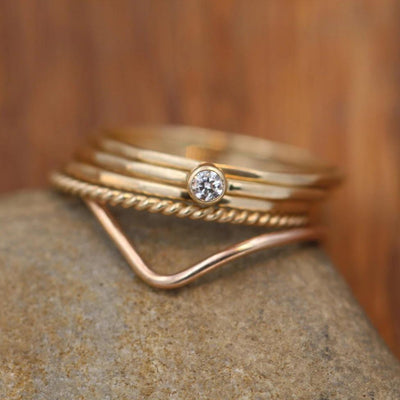 Diamond Ring Set - Petite Diamond Yellow Gold Stacking Ring Set - Diamond Yellow Gold Ring Set - Diamond Stacking Ring Set - VS Diamond