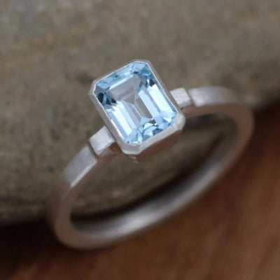 Blue Topaz Matte Finish Emerald Cut Bezel Ring - Octagon Blue Topaz Ring - Rock Fettish Ring - Alternative Engagement Ring