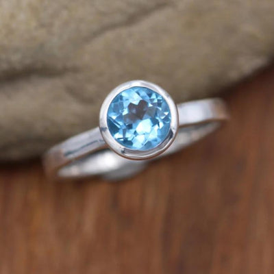 Swiss Blue Topaz Bezel Ring - 7mm Glossy Finish- Solitaire Ring - Round Topaz Ring - Alternative Ring - Recycled - Engravable Ring