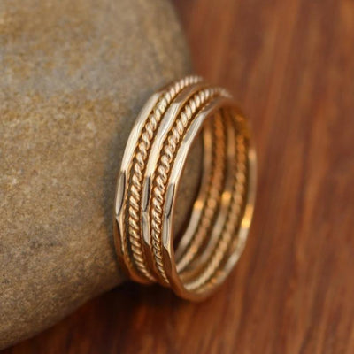 14 Kt Yellow Gold Glossy 1mm Twist Wire Ring Set - Stacking Rings - Midi Rings - Skinny Rings - Ring Set - Twist Ring Set - Hammered Set