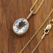White Topaz 14 kt Gold Oval Matte Finish Necklace/Pendant - Yellow & Rose Gold