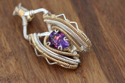 Amethyst Wire Wrapped Necklace - Amethyst Pendant - Gold Amethyst- Pear Cut - Wire Wrapped in Recycled  Argentium Sterling Silver