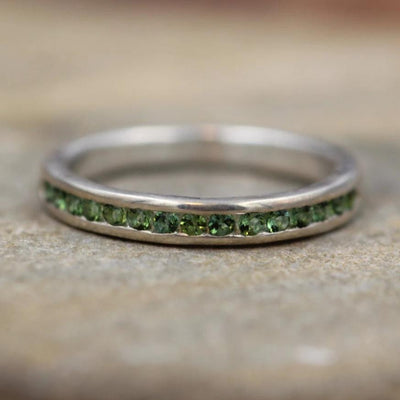 Green Tourmaline Ring Glossy Finish - Green Tourmaline Wedding Band - Green Tourmaline Channel Ring - Half Channel Band - Tourmaline Ring