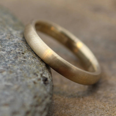 Yellow Gold Band, 3.5x2mm Comfort Fit Matte Finish - Simple Gold Band - Smooth Band - Engravable Band - Half Round Gold Band - Hand Made
