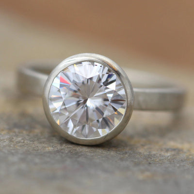 Moissanite White Gold Alternative Engagement Ring, 8mm 1.6 ct  Matte Finish Bezel Ring - Forever One- Traditional - Bezel Ring