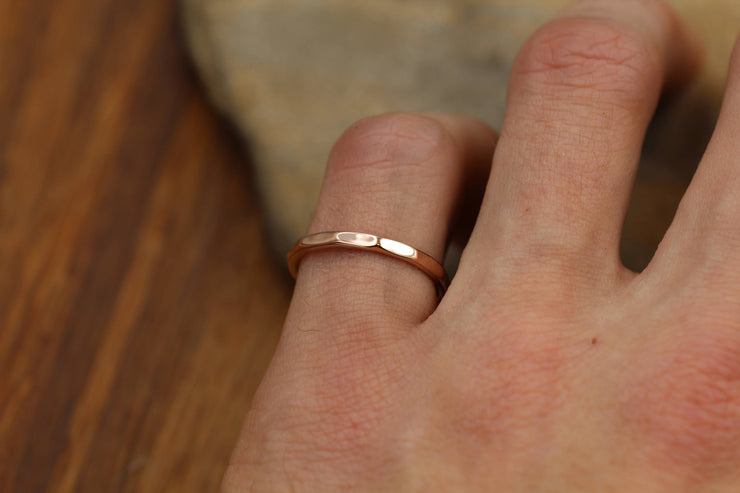 Solid 14 kt Yellow Gold 2mm Thick Ring -  Thick 14kt Yellow Gold Hammered Band - Simple band - Hand Made - Gold Band - Hammered Gold Band