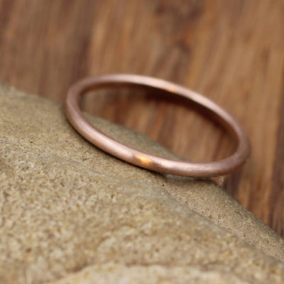 14 kt Rose Gold Band - 1.6 mm, Matte Finish - Thick Rose Gold Ring - Skinny Stacking Ring - Rose Gold Ring - Pink Gold Band